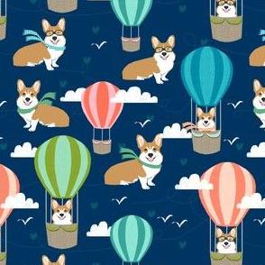 corgi hot air balloon fabric cute dogs design