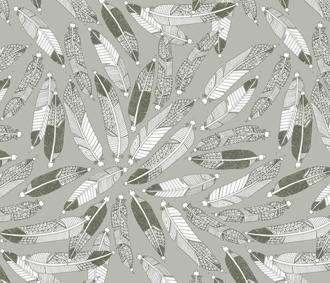 native feathers silver fabric by scrummy on Spoonflower - custom fabric