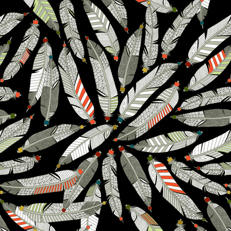 native feathers black half size fabric by scrummy on Spoonflower - custom fabric