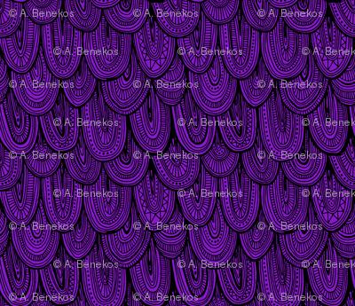Doodle Scales - Black on Purple