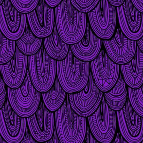 Doodle Scales - Black on Purple