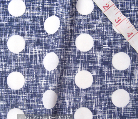 Medium spaced white polka dots on navy + white linen weave by Su_G