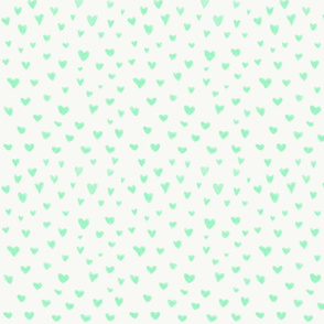 Mint green watercolor kids hearts