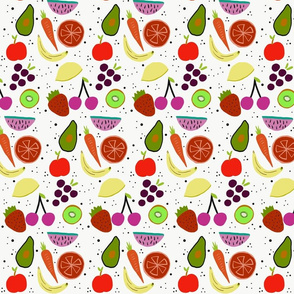 Mixed fruit doodle print kids kitchen