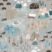 Woodland mountains with buffalos, mustangs, bears and Teepees