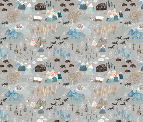 Woodland mountains with buffalos, mustangs, bears and Teepees fabric by rebecca_reck_art on Spoonflower - custom fabric