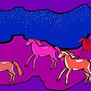 Painted ponies in a desert sky