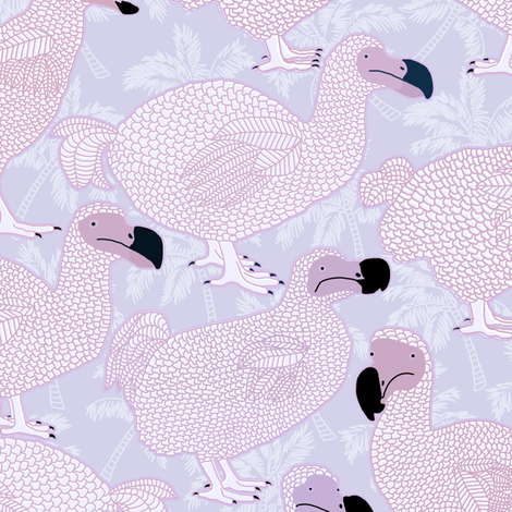 Dodos in Violet - LARGE fabric by rubydoor on Spoonflower - custom fabric