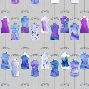 Mini Watercolor Dress Forms / Mannequins