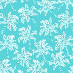 Palm Trees in Aqua - LARGE