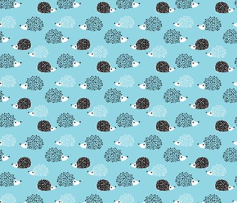Scandinavian sweet hedgehog illustration for kids gender neutral spring black and white blue fabric by littlesmilemakers on Spoonflower - custom fabric