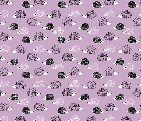 Scandinavian sweet hedgehog illustration for kids gender neutral spring black and white pink lilac violet fabric by littlesmilemakers on Spoonflower - custom fabric
