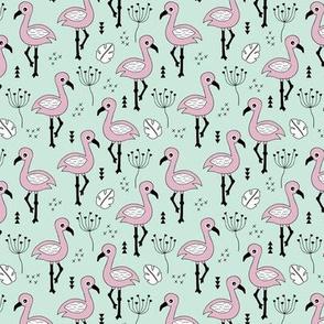 Cute little tropical flamingo birds for girls fun spring summer illustration design mint violet SMALL