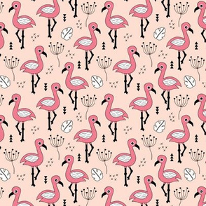 Cute little tropical flamingo birds for girls fun spring summer illustration design peach pink SMALL