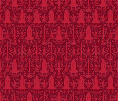 Rocket Science Damask (Red) fabric by robyriker on Spoonflower - custom fabric