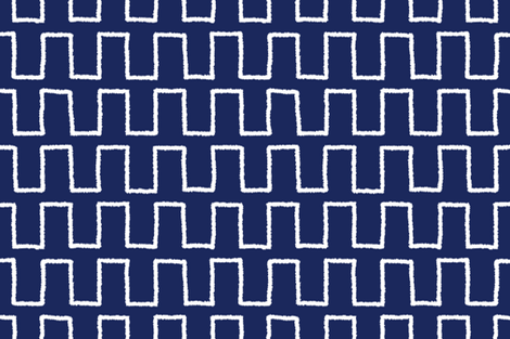 Stepped_white_on navy fabric by danika_herrick on Spoonflower - custom fabric