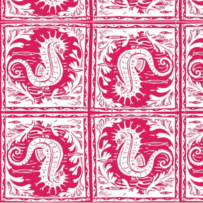 Seahorse Batik (Magenta/White)