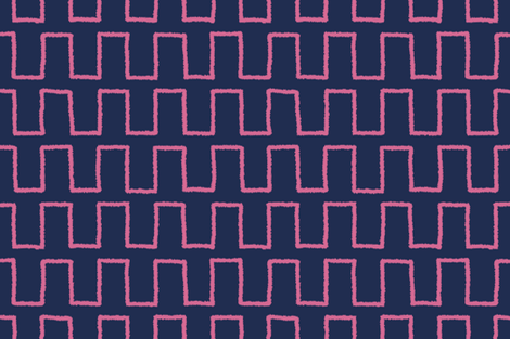 Stepped_magenta on navy fabric by danikaherrick on Spoonflower - custom fabric