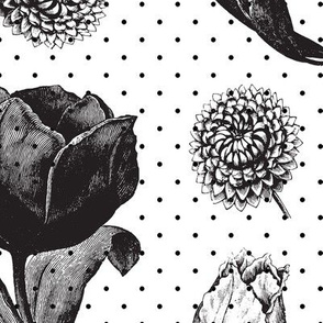Black and white polka dot floral