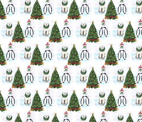 Polar Bear & Penguin Christmas fabric by eileenmckenna on Spoonflower - custom fabric