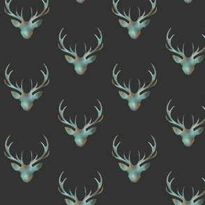 """Painted Deer- 2"""" - teal/gold on charcoal"""