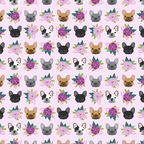 Mini french bulldog fabric frenchie florals purple fabric