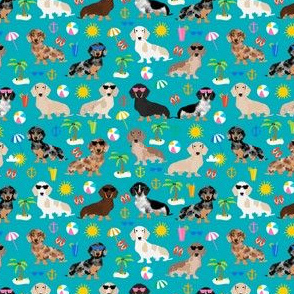dachshund beach fabric summer sunshine design cute doxie fabric