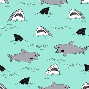 shark attack // bright mint summer shark fabric summer shark fin fabric