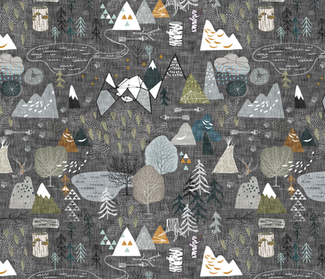 Max's Map (charcoal) fabric by nouveau_bohemian on Spoonflower - custom fabric