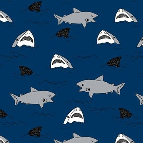 shark attack // navy blue shark fin summer sharks fabric shark design