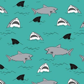 shark attack // turquoise shark attack fabric sharks fabric jaws summer