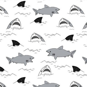 shark attack // summer jaws sharks fabric sharks shark fin design