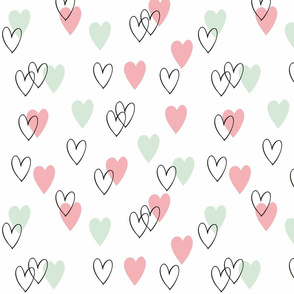 Pink and mint love hearts