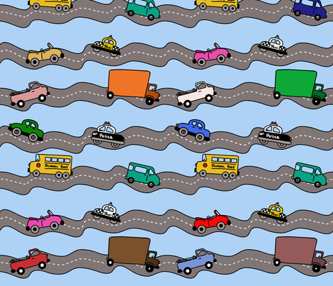 Traffic jams are a sticky situation fabric by sixsleekswans on Spoonflower - custom fabric
