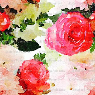 LARGE PRINT Watercolor Roses