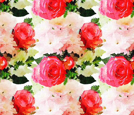 LARGE PRINT Watercolor Roses fabric by theartwerks on Spoonflower - custom fabric
