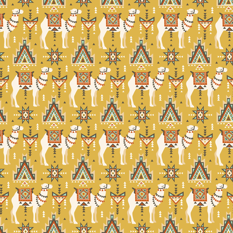 Сamels and geometry fabric by alenkakarabanova on Spoonflower - custom fabric