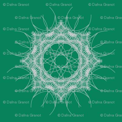 geometric white mandala on green