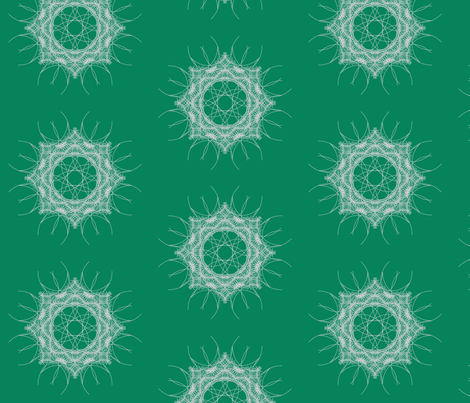 geometric white mandala on green fabric by dafnag on Spoonflower - custom fabric