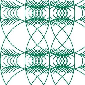 geometric dark green on white