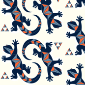 Tribal Lizards and Mountains with Orange