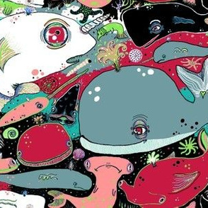 whale narwhal hammerhead shark sealife, red blue green black pink turquoise coral white gray
