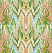 Dancing Prisms, green, beige, aqua, coral