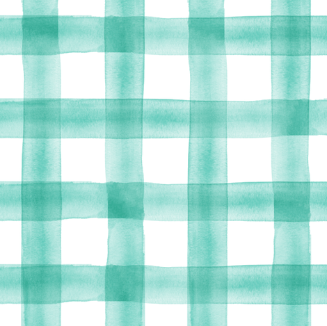 watercolor plaid || teal fabric by littlearrowdesign on Spoonflower - custom fabric