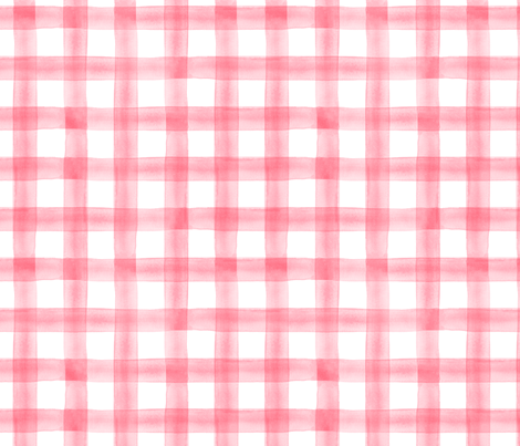 watercolor plaid || pink fabric by littlearrowdesign on Spoonflower - custom fabric