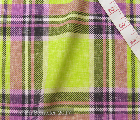 Dashing Stewart plaid in Mauve + Lime in a linen-weave by Su_G