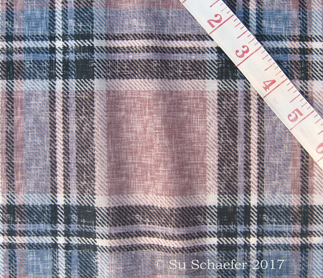 Subtle Stewart plaid in Mocha + Gray-blues in a linen-weave by Su_G_©SuSchaefer