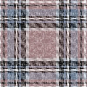 Subtle Stewart plaid in Mocha + Gray-blues in a linen-weave by Su_G