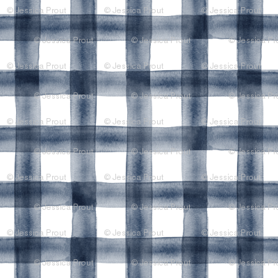watercolor plaid || navy