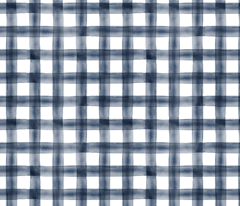 watercolor plaid || navy fabric by littlearrowdesign on Spoonflower - custom fabric